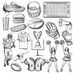 Hand drawn American Football elements