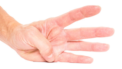 Person showing four fingers isolated on white