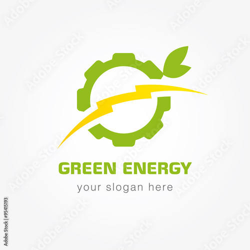 Green energy bolt company. Eco energy icon template for electricity ...