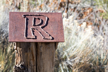 "Metal letter ""R"" on a wooden post"