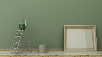 Empty picture frame in classic interior background on the decorative painted wall with wooden floor. Painting with ladders, can and bucket. Copy space image. 3d render