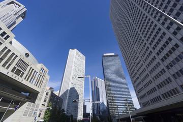 東京都庁前から望む 新宿高層ビル群を見上げる