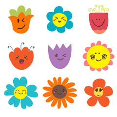 Cute happy flowers. Funny flowers collection