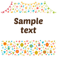 Empty blank with funny colored design elements. Cute vector back