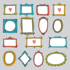 Set of hand drawn frames. Cute design elements. Sketchy ornament