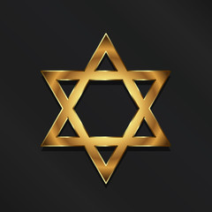 Golden David Star. Judaism symbol