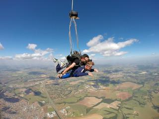 Skydiving tandem open parachute