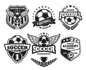 Set of Soccer Football Crests and Logo Emblem Designs. Football Championship Emblem Design Elements