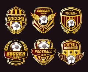 Set of Soccer Football Crests and Logo Emblem Designs. Football Championship Winner Gold Emblem