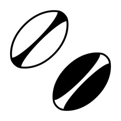 White rugby ball with stripes line art icon