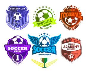Set of Soccer Football Crests and Logo Emblem Designs. Football Championship Emblem Design Elements