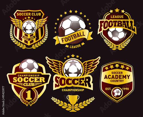 set of soccer football crests and logo emblem designs football