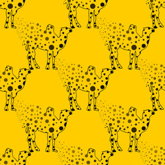 Illustration. Camel in the peas. Sketch seamless pattern.