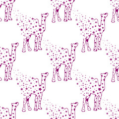 Illustration. Camel with stars. Sketch seamless pattern.