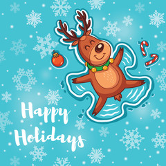 Happy Holidays card with cute cartoon deer - snow angel