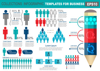 Collection of infographic people  elements for