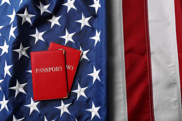 Passports lying on American Flag background