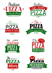 Italian pizza colorful labels and signs