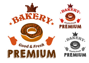 Pastry emblem with glazed donut and text