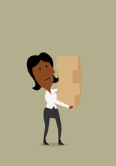 Businesswoman carrying a stack of boxes