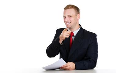 TV anchor preparing for telling news