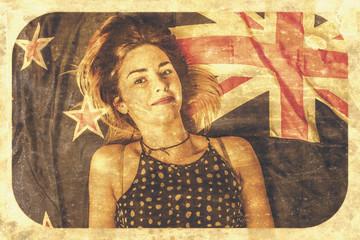 Australia Day pinup girl postcard