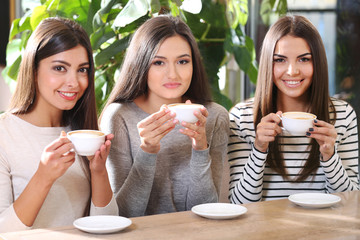 Beautiful girls drink coffee in cafe