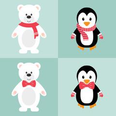 winter bear and penguin set