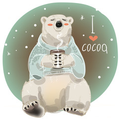 Cartoon white bear with cup of hot drink