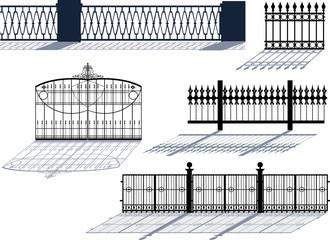 five decorated fences with reflections on white