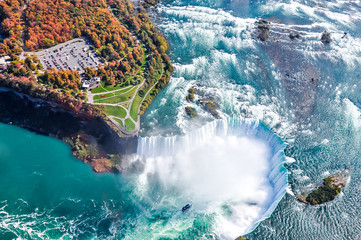 Photo on textile frame Canada Niagara Falls aerial view Canada