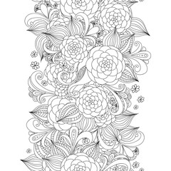 Vector doodle flowers seamless border. Zentangle decorative element.