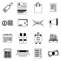 Set of black flat shopping icons. Vector sale icons