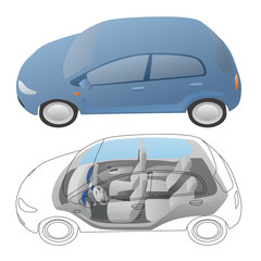 generic vehicle body and interior, vector illustration