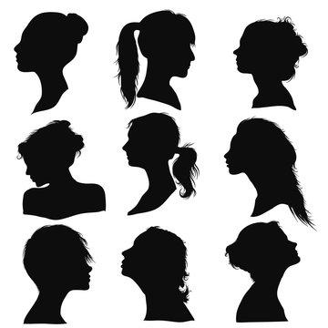 women profile face beauty silhouette detailed hair majestic