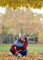 Pensive girl in the park