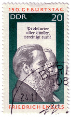 GDR - CIRCA 1955: a stamp printed in Germany shows Friedrich Engels and Karl Marx, Social Scientist, Political Theorist and Marxist, circa 1955