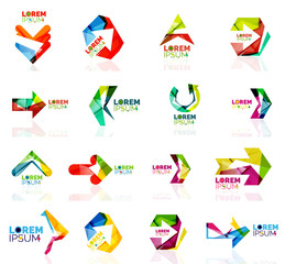 Geometric shapes arrow company logo set, paper origami style