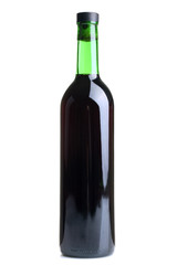 grape wine in a glass bottle closed by a cork isolated on white background