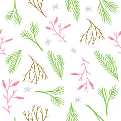 Seamless Christmas pattern. Tile background. Botanical winter wallpaper. Wrapping paper texture.