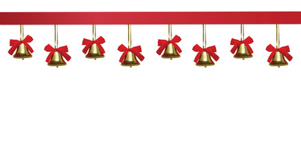 Golden christmas bells hanging under a red satin tape, frame, isolated on white background, vector eps10 illustration