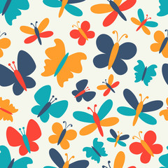Retro seamless pattern of colorful butterfly silhouettes