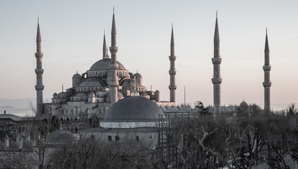Blue mosque on gray at dusk, Istanbul, Turkey