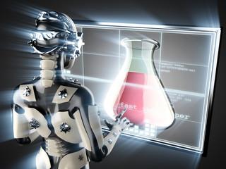 cyborg woman and laboratory glassware on hologram display