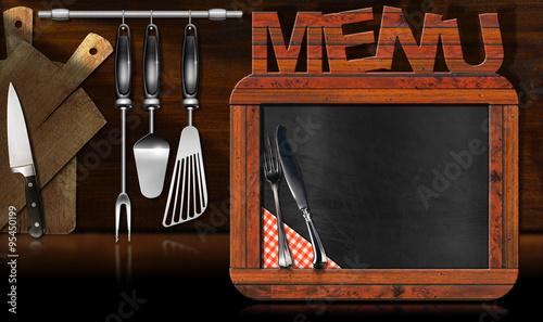 blackboard menu in the kitchen old empty blackboard with wooden