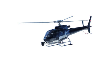 a helicopter used for filming sports events isolated on a white background