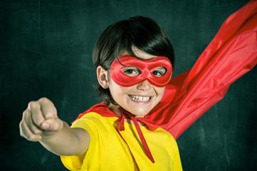 Happy little superhero