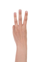 hands show the number three