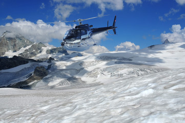 helicopter filming glaciers and the summit of the matterhorn