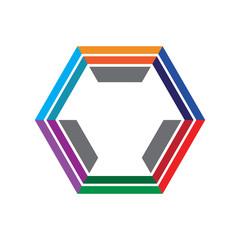 Colorful Hexagonal Logo Template